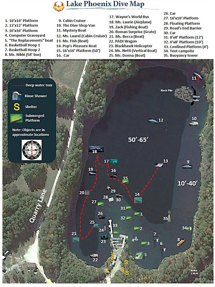 Lake Phoenix (previously Lake Rawlings) - Lake Phoenix Dive Map