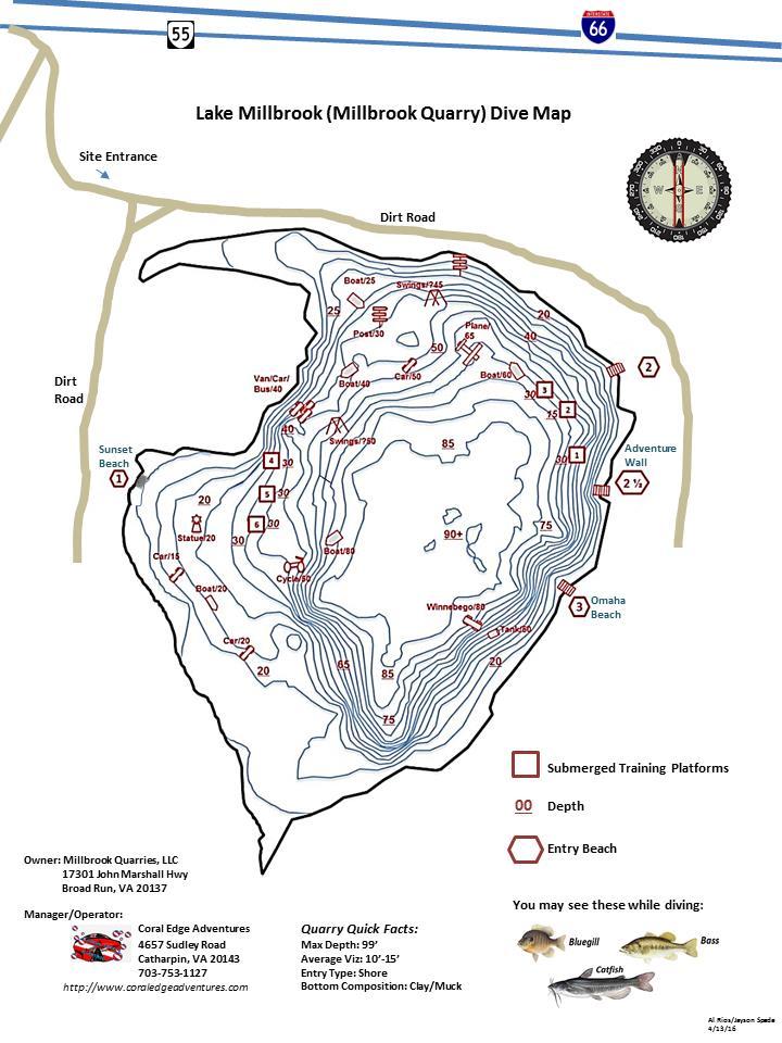 Millbrook Quarry (aka Lake Millbrook) - Millbrook Dive Map