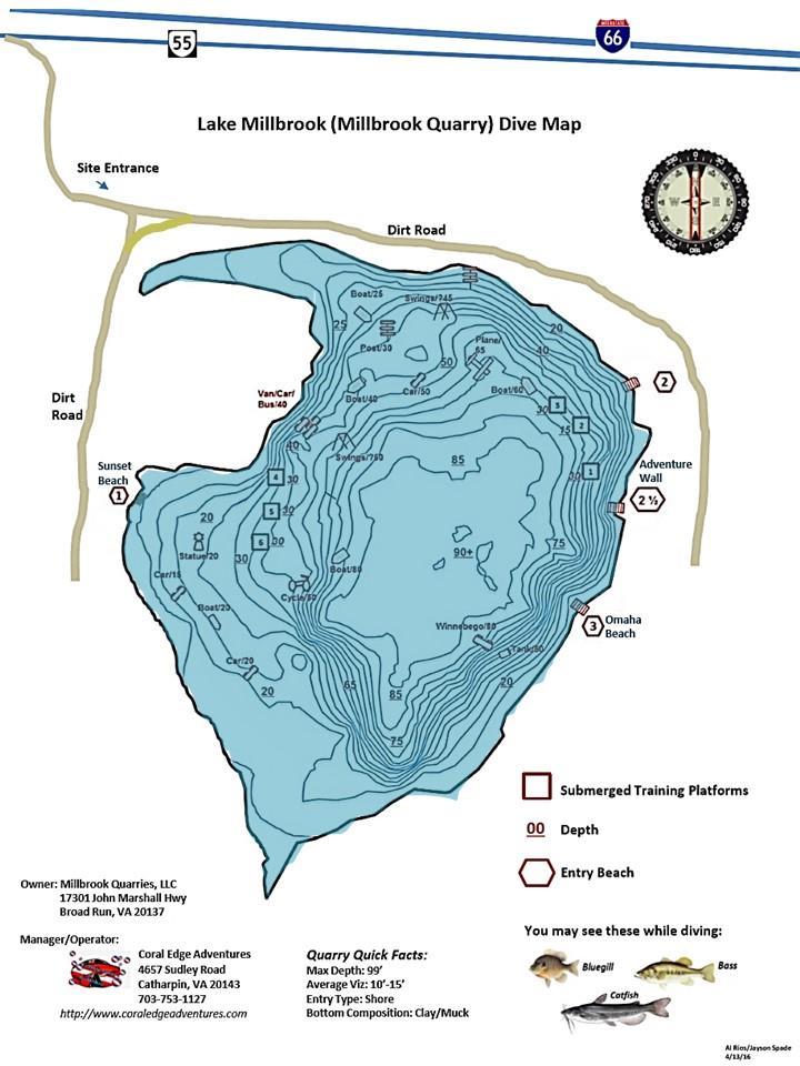 Millbrook Quarry (aka Lake Millbrook) - Millbrook Quarry Dive Map