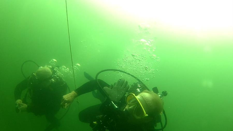 Wheeler Branch Lake - Dive Buddy Adam NAUI & me with my goofy mask BUT w/prescription lenses.