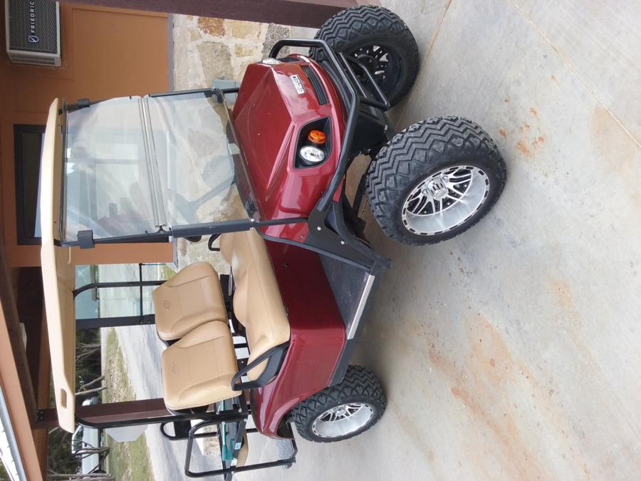 Wheeler Branch Lake - Park's pimped golf cart with mag wheels