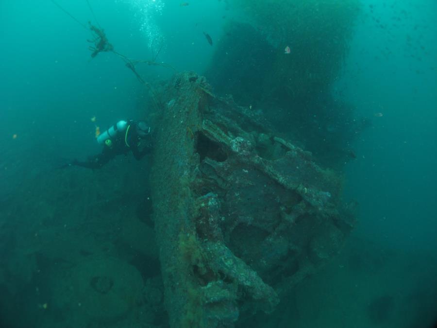 USS Salute (American wreck) - Salute Dive Feb2017