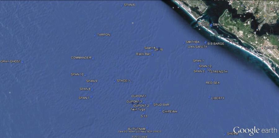 Hathaway Bridge Span #1 - Google Map of Panama City Beach Wrecks