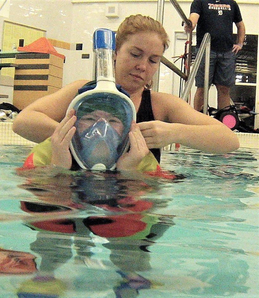 Alex getting ready to snorkel