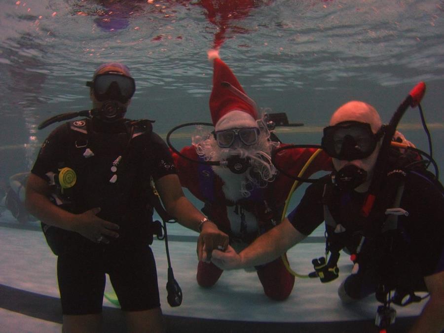 Santa does scuba