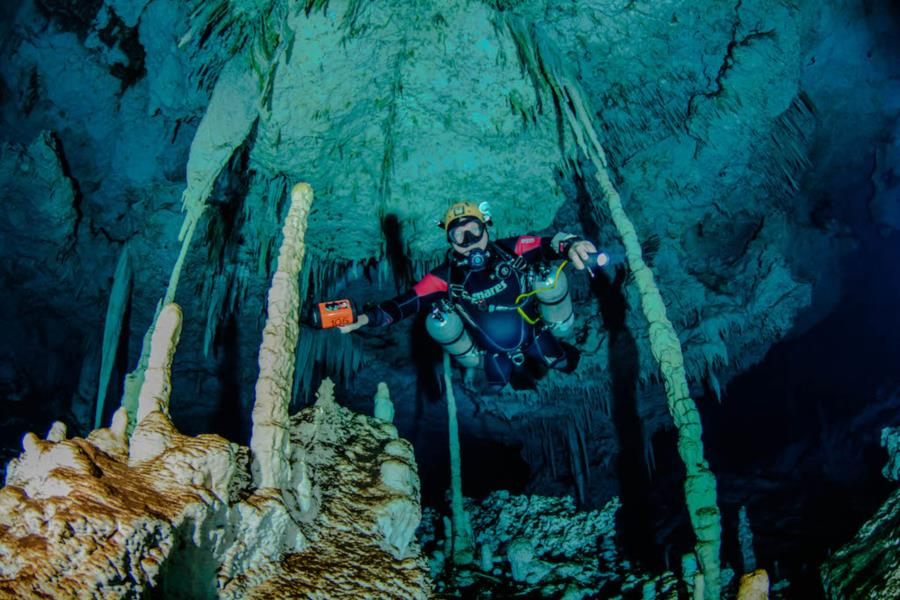 Cave diving, Playa del Carmen, Mexico