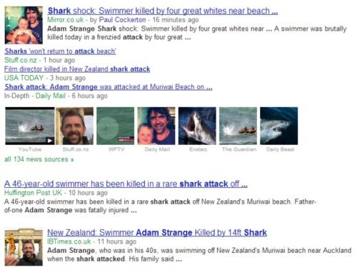 Shark Attack in Auckland New Zealand - Adam Strange