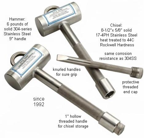 Hammer & Chisel Set for Scuba Diving