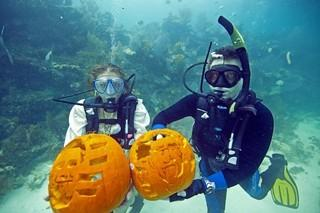 Festive pumpkin carving below the sea in the Keys