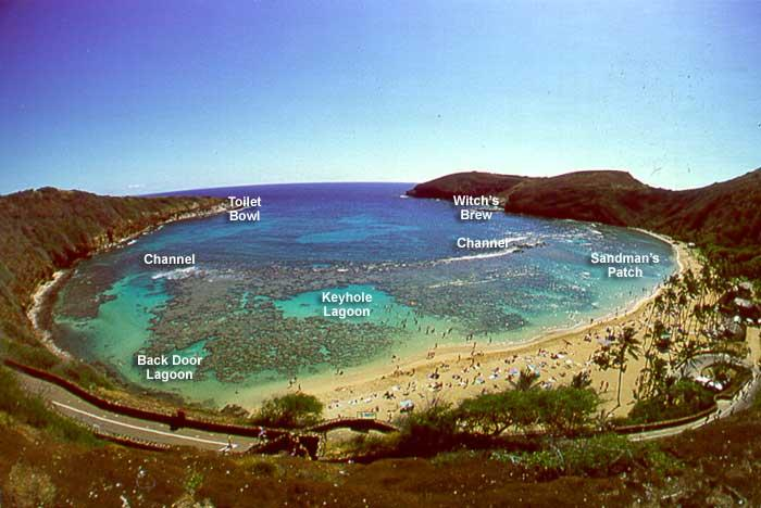 Hanauma Bay - the bay locations