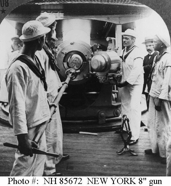 "USS New York - Practice loading of one of the cruiser's midships 8""/35 guns, circa 1898."