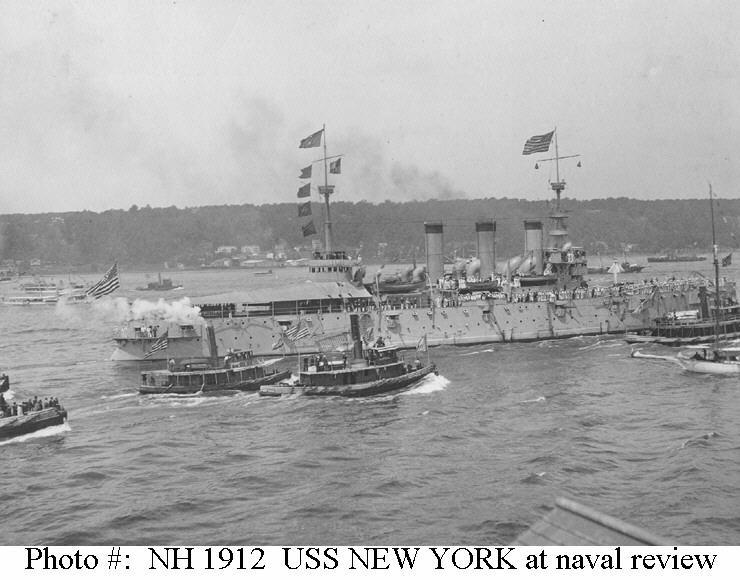 USS New York - Underway in New York Harbor during the victory fleet review, 21 August 1898