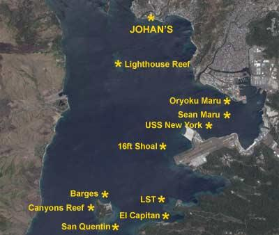USS New York - Dive Sites