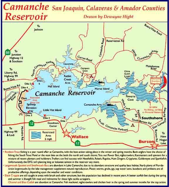 Lake camanche map for Lake camanche fishing