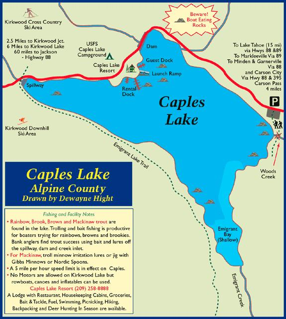 Caples Lake, El Dorado County - Map of Caples Lake, CA