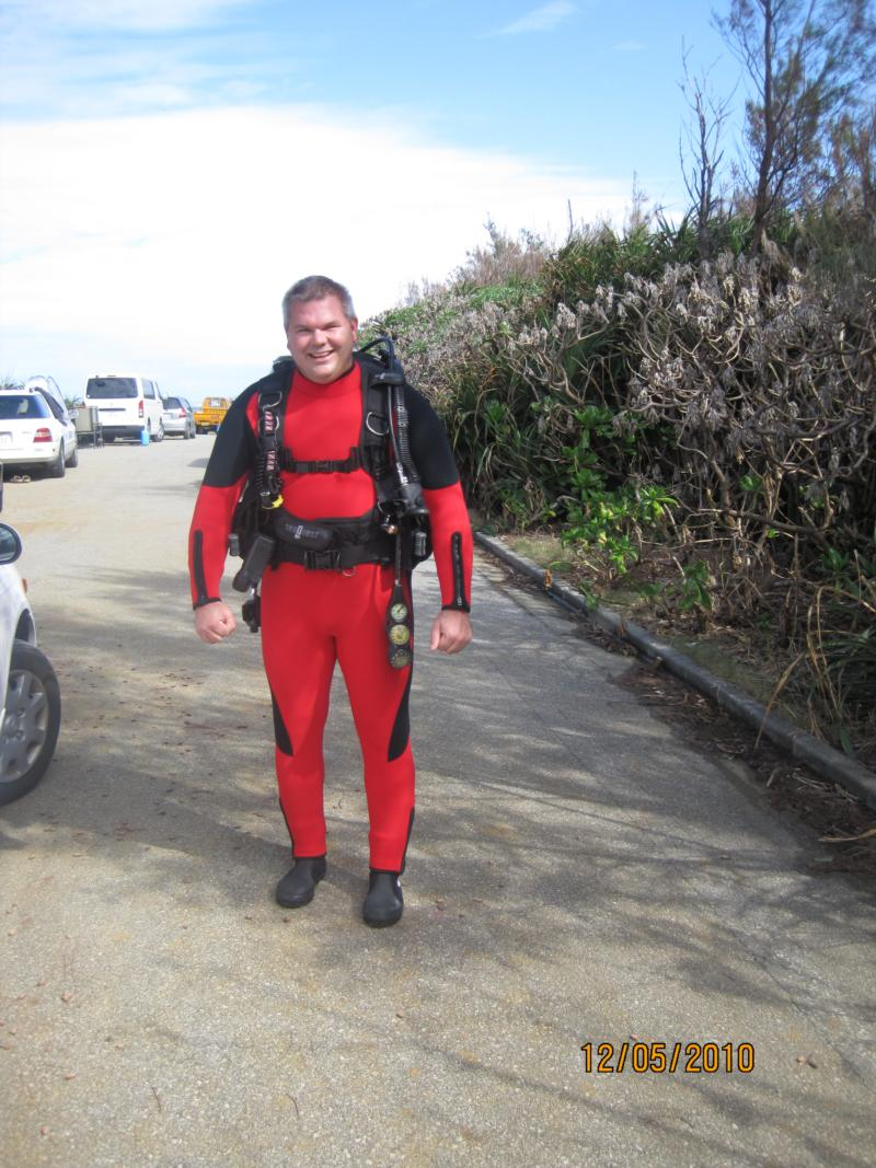 Me with my new custom made five mil wetsuit