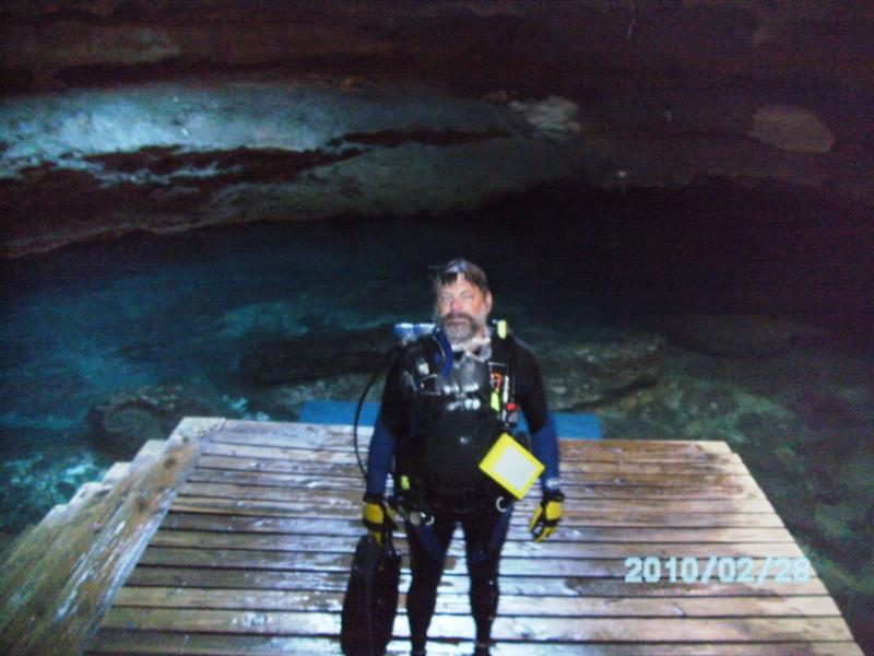 Headin' up the stairs to the surface. Cold and wet after 2 dives. Devil's Den, Williston, Florida