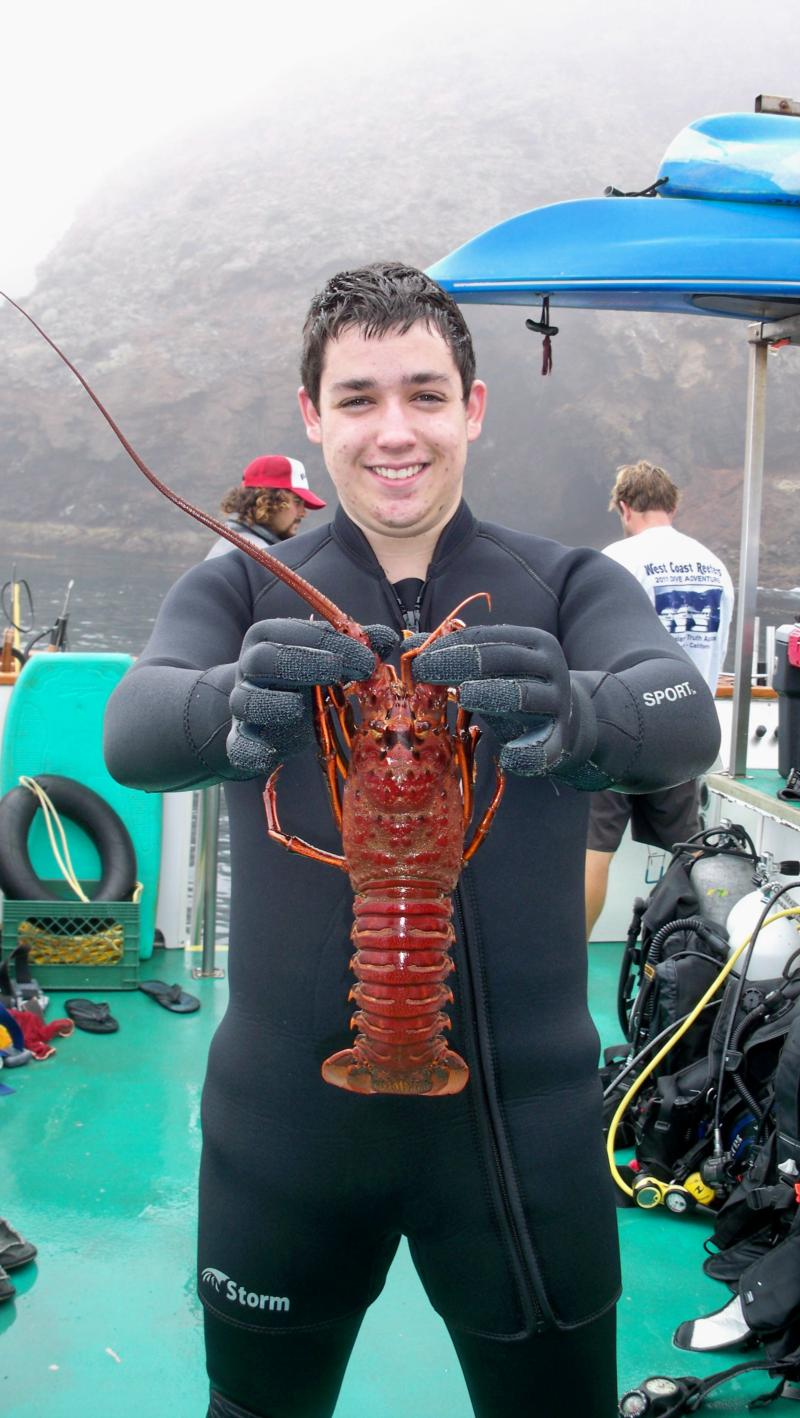 Shanes first lobster 2011