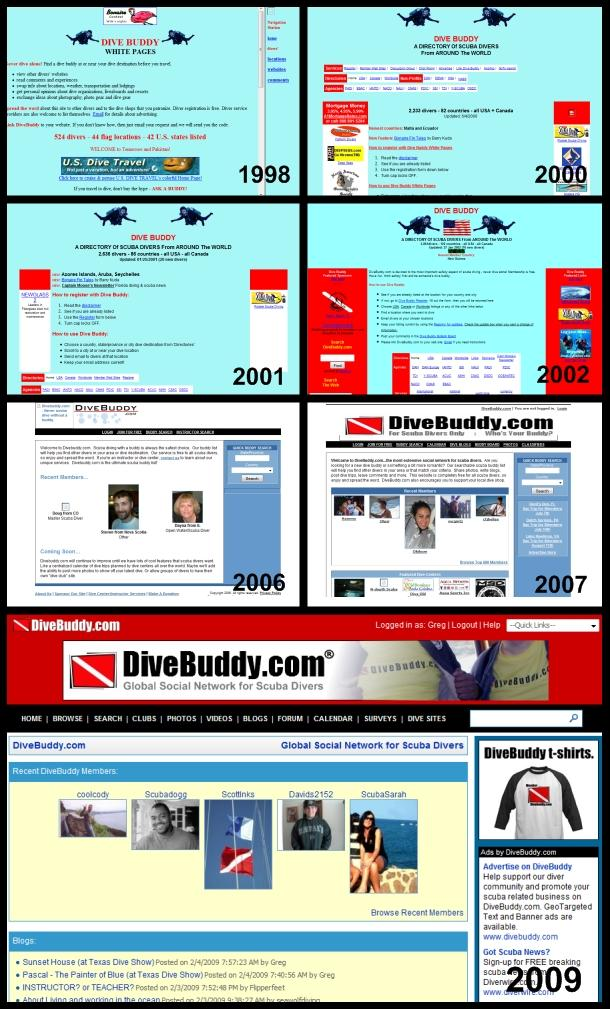 DiveBuddy History in Time (website archive)