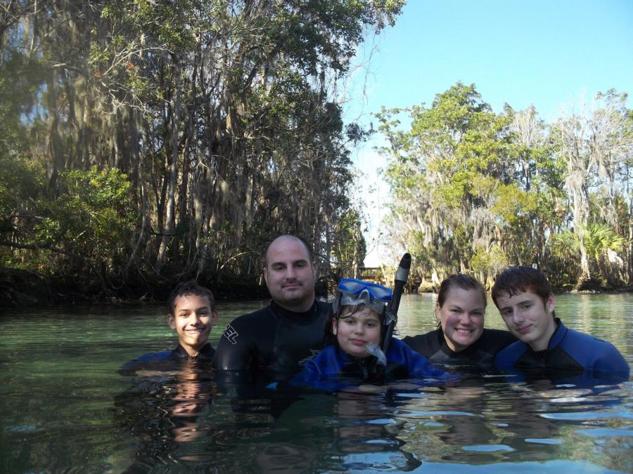Bec, the kids and I in Three Sister Springs, Fl