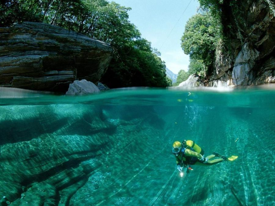 Scuba Diver in Verzasca Valley, Switzerland