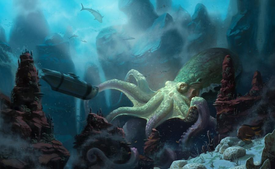 Painting of underwater scene with large octopusUnderwater Octopus