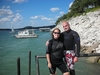 My hot wife and I in wetsuits.