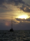 Morning sunrise waiting for dive boat in Belize