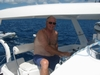 Hugh at helm of Moonshadow BVI, 43` Cat.