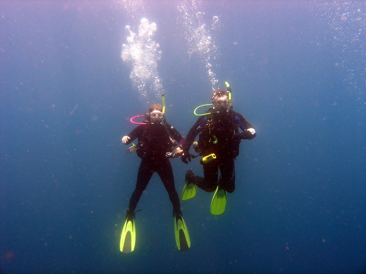 Me & Hubby diving Panama City Beach, FL