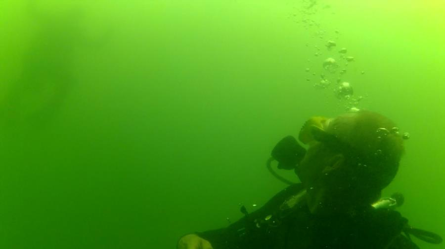 Clear Springs Scuba Park - Dive buddy descending behind me.