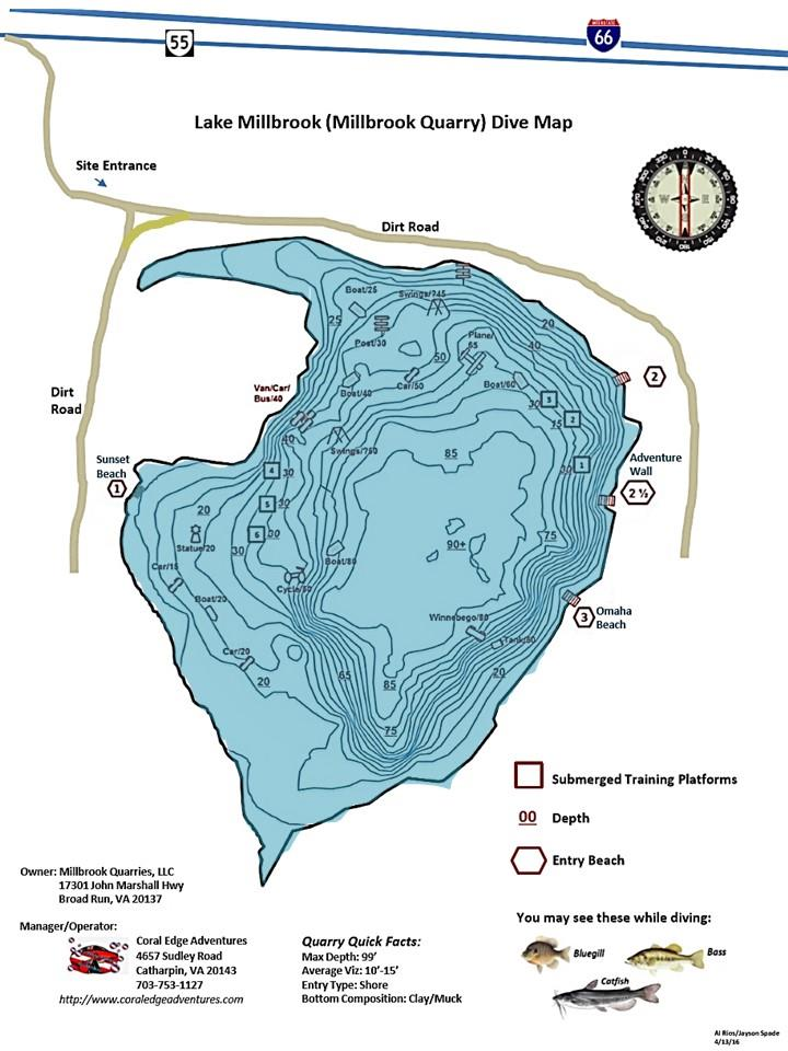 Millbrook Quarry (aka Lake Millbrook) - Millbrook Quarry Dive Map