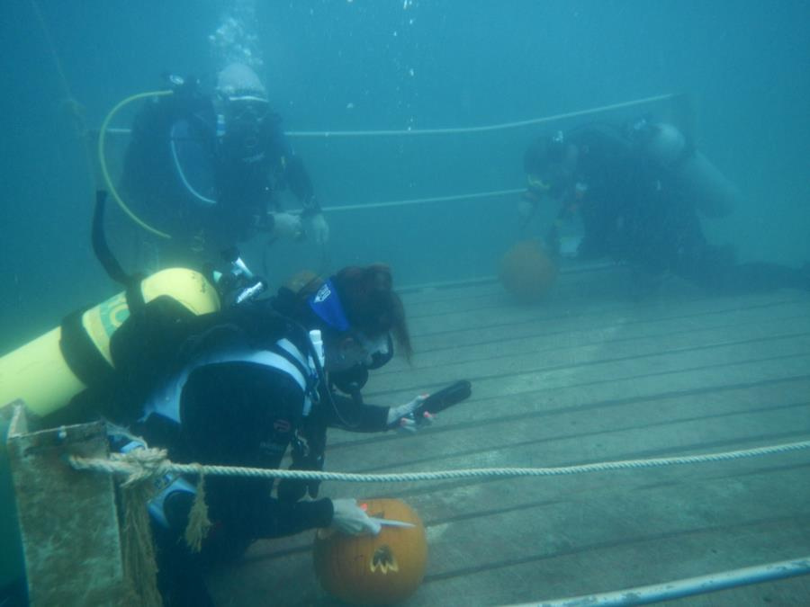 Philadelphia Quarry - Underwater Pumpkin Carving on the 20ft Platform.