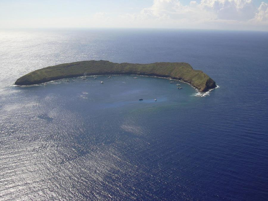 Molokini Crater - Arial view of Molokini Crater
