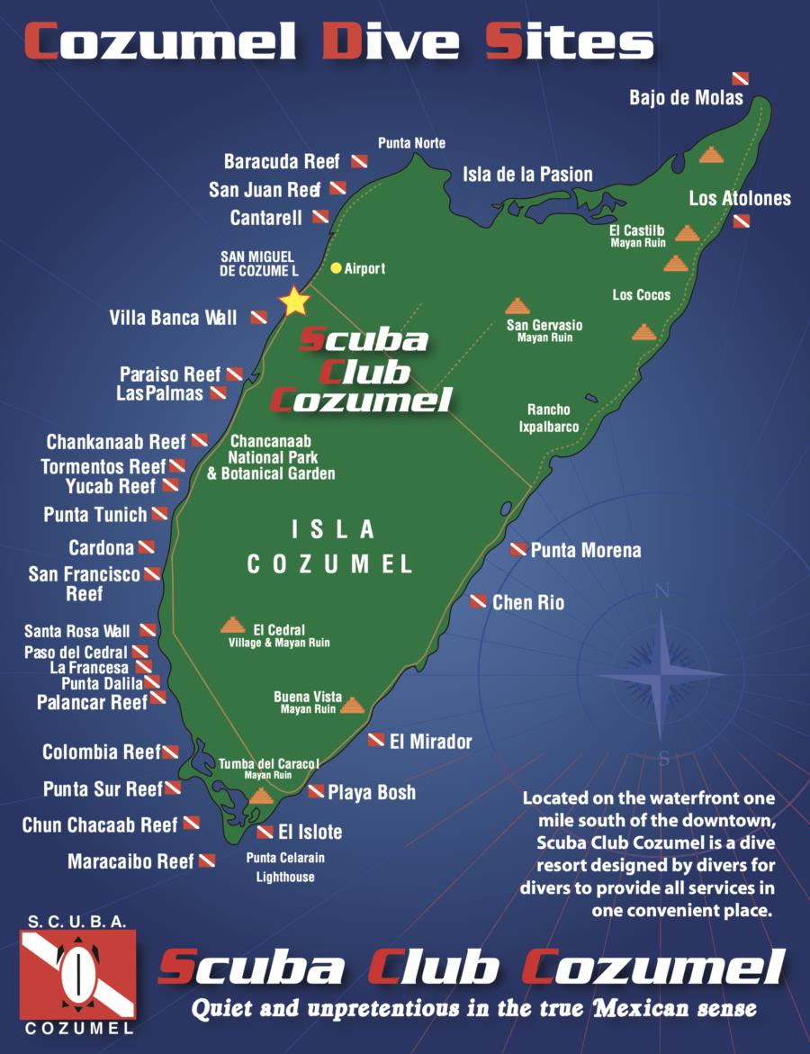 Scuba Club Cozumel - Map of Scuba Club Cozumel's location and the surrounding boat dives.