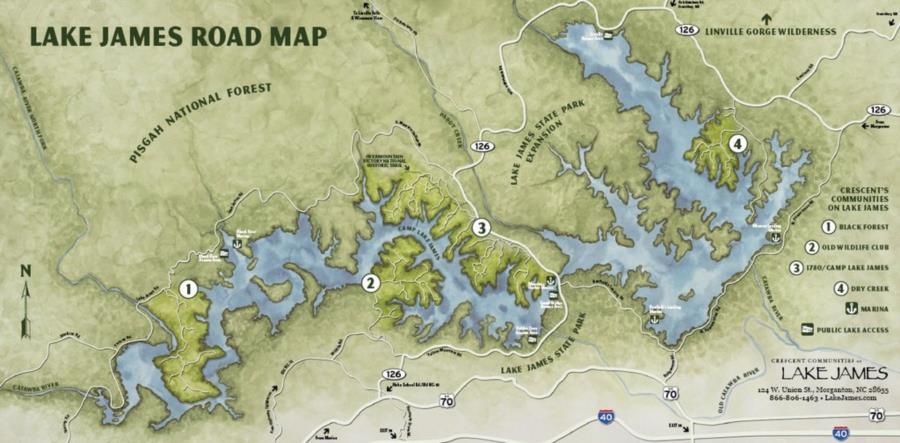 Lake James Rock Formation - Illustrated Road Map of Lake James