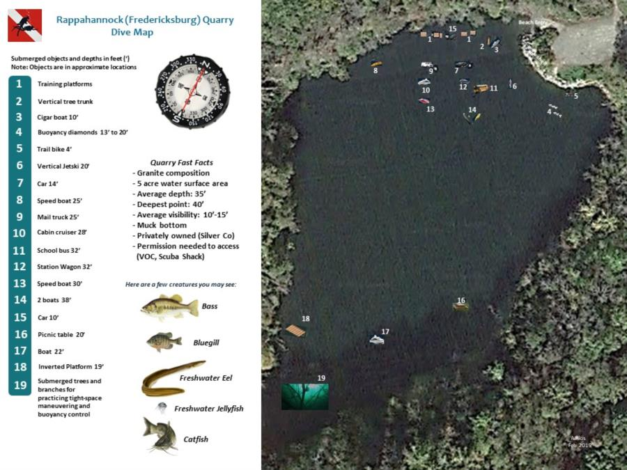 Rappahannock/Fredericksburg Quarry - Updated Dive Map