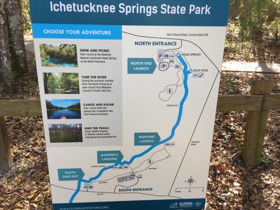 Jug Hole Spring, aka Blue Hole, Ichetucknee Park - Ichetucknee Springs Site Map