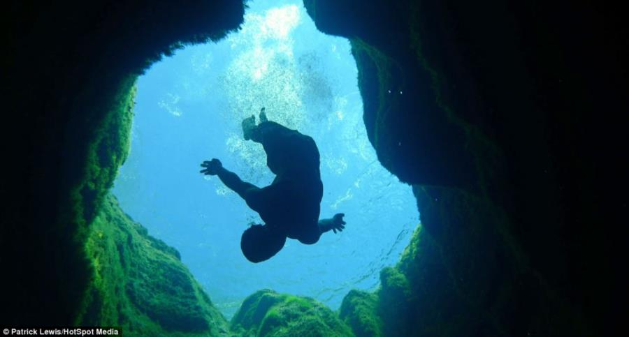 Jacob's Well - View from underwater in Jacobs Well