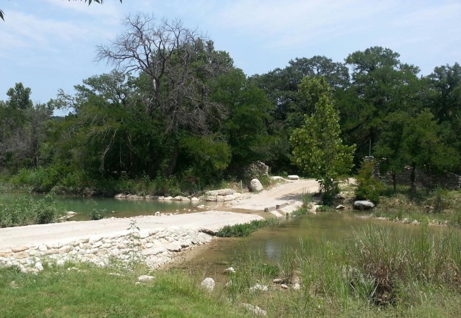 Big Sandy Creek Swimming Hole - One lane bridge with water flow
