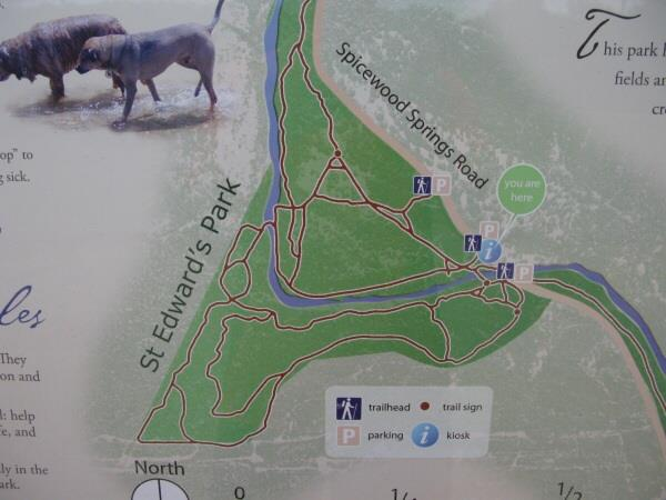 St. Edwards Park - Bull Creek Swimming Hole - Map of hiking trails