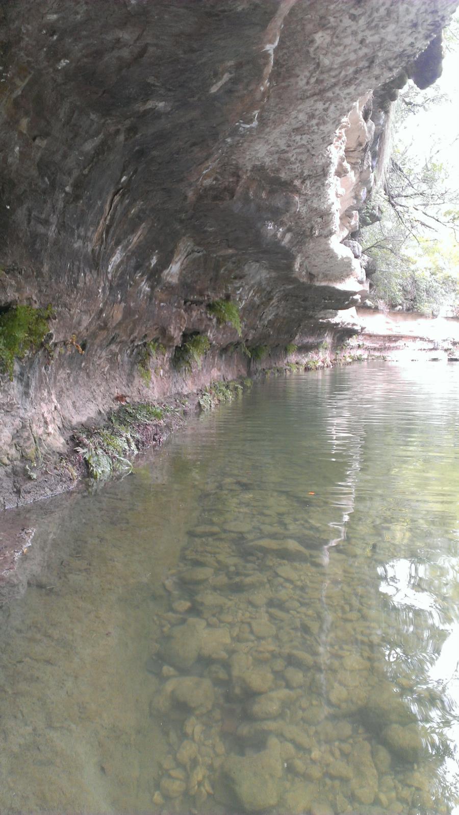 St. Edwards Park - Bull Creek Swimming Hole - Water near cliffs