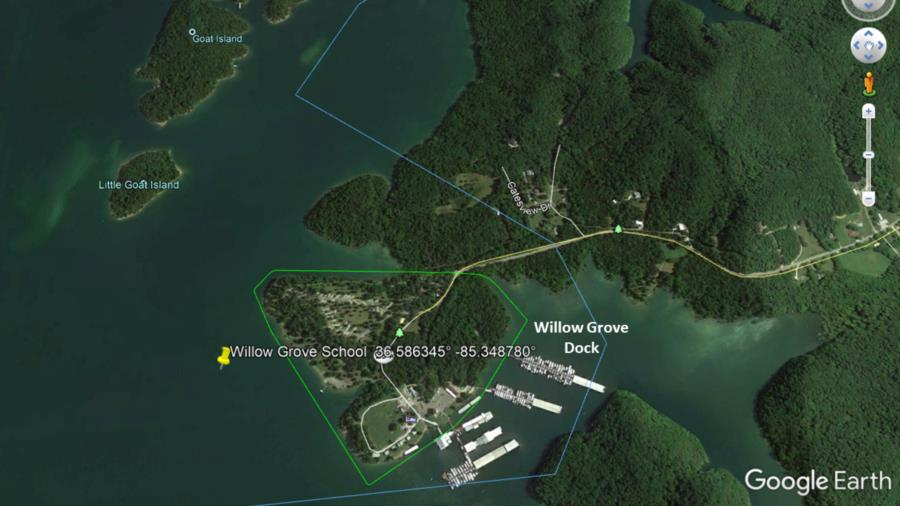 Willow Grove Schoolhouse, Dale Hollow Lake - Willow Grove School map