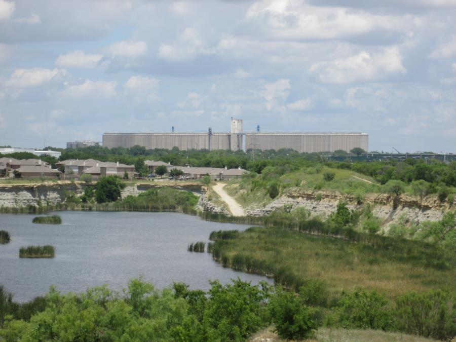 Coontail Quarry - Saginaw grain silos as seen from quarry