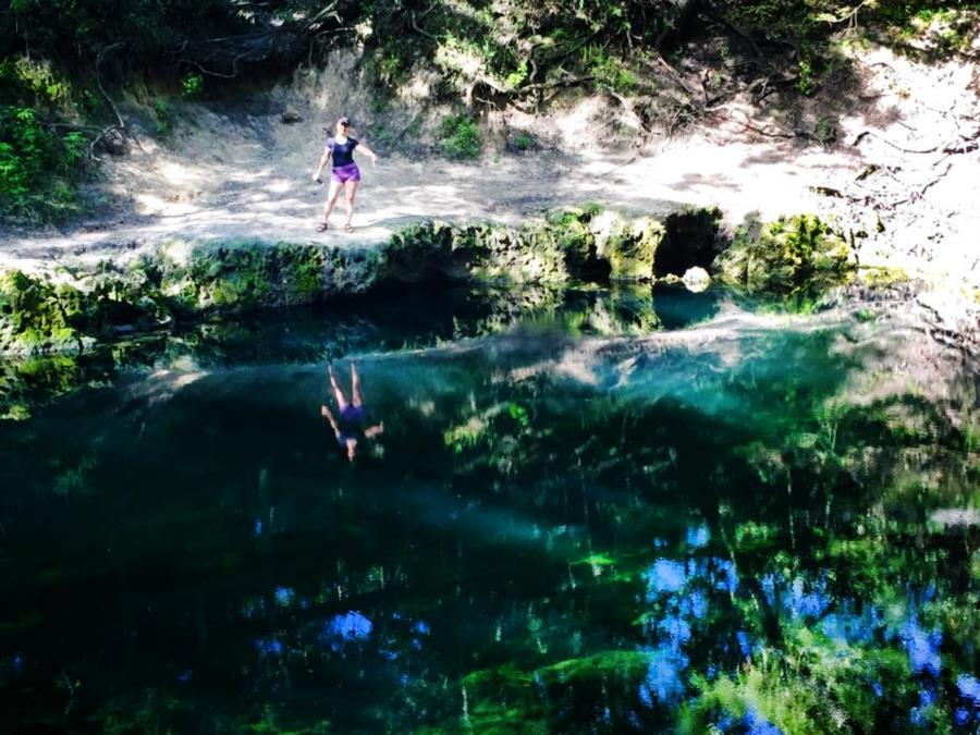 Lafayette Blue Springs State Park - Me point down to cave entry