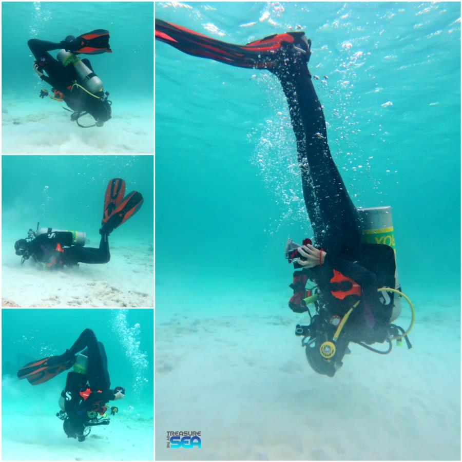 The Rock - Caitlin doing backflips after seeing 2 seahorses on a dive