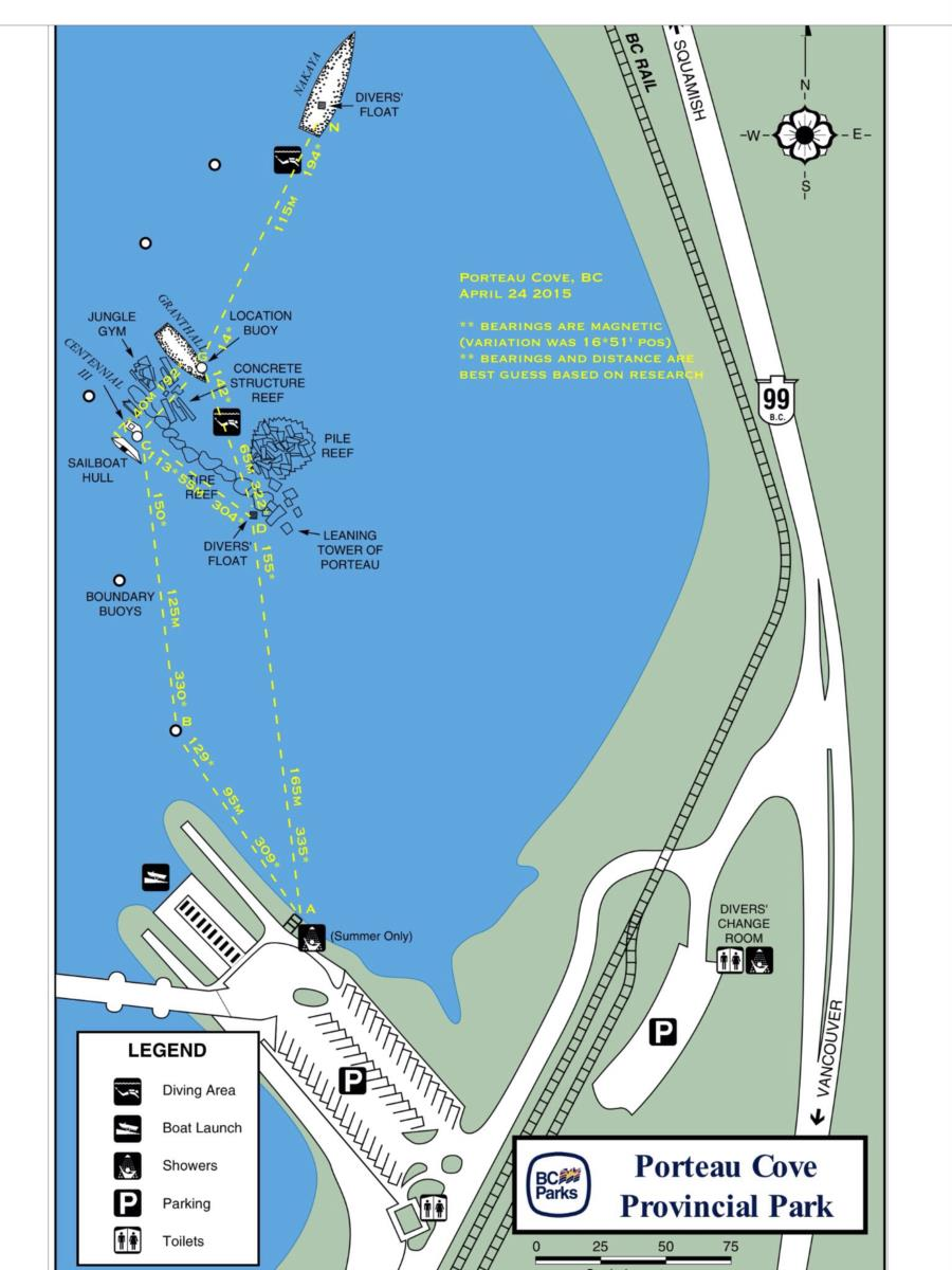 Porteau Cove - Site map (bearings to confirm)