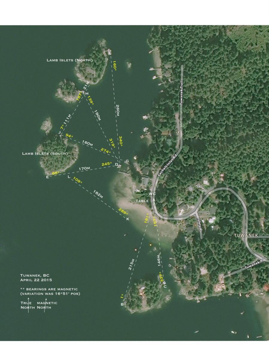 Tuwanek Beach - Shore dive map