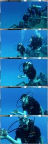 Chris with his new friend while diving the Kittiwake