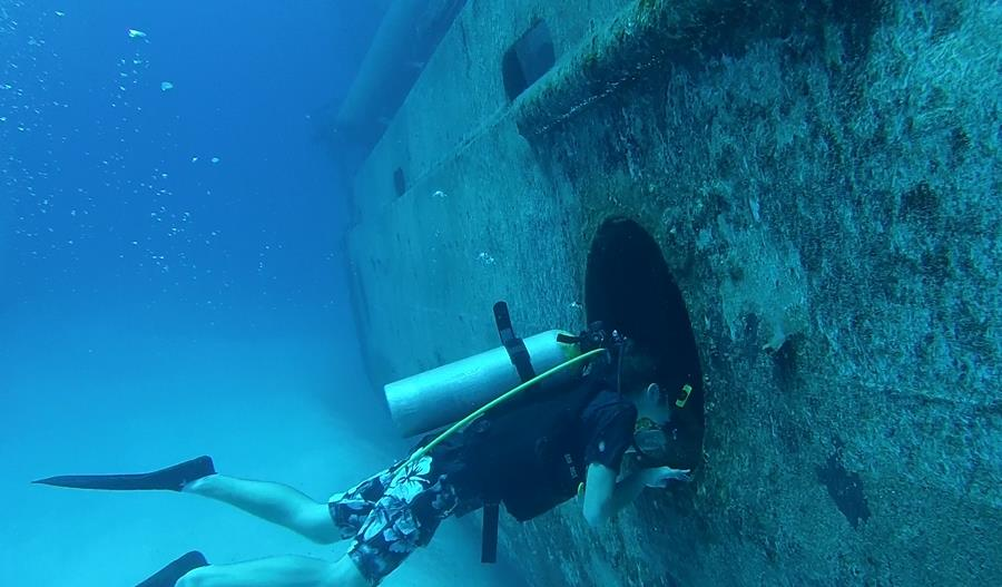 Conner about to go into the Kittiwake Wreck